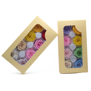 High Quality Multicolor Preserved Rose Box 4-5CM Immortal Eternal Rose Dried Flowers Mother Day Present Furnishing Decoration