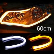 лучшая цена Tonewan 2pcs  30cm 45cm 60cm DRL Flexible LED Tube Strip Daytime Running Lights Turn Signal Angel Eyes  White/Yellow/Blue