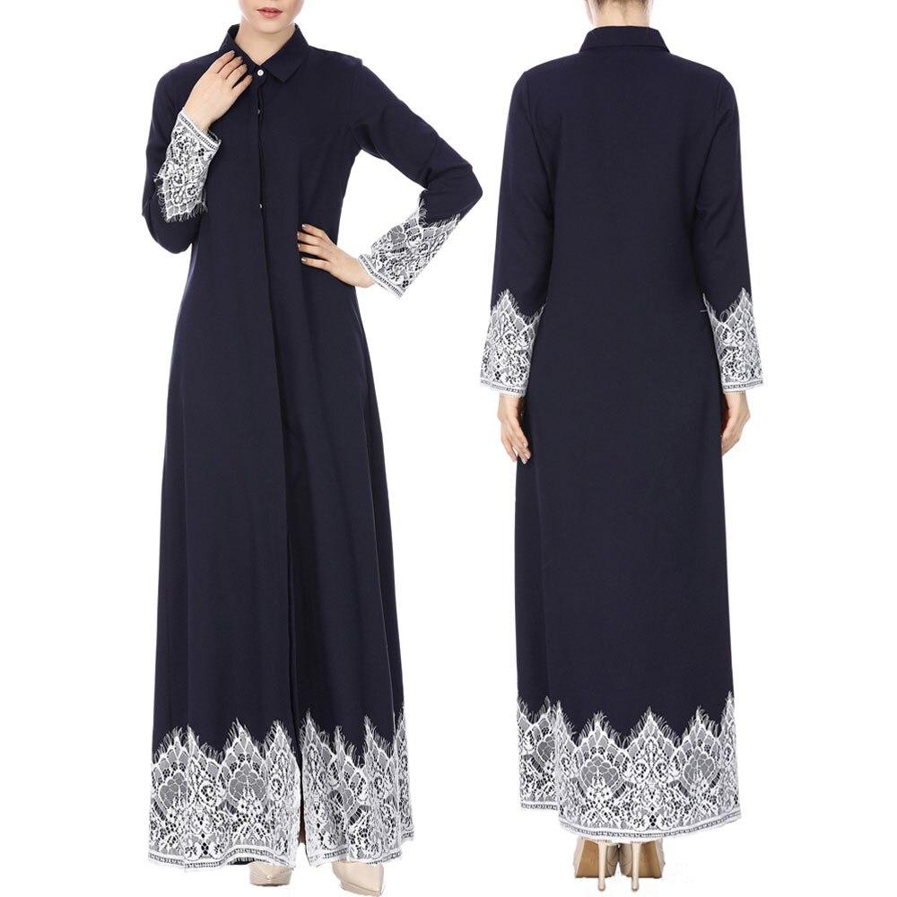 Well-Educated Muslim Women Lace Trimmed Front Abaya Muslim Maxi Kaftan Kimono Women Windbreaker Elegant Long Slim Winter Manteau Femme Hivera8 Women's Clothing