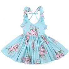 Baby Girls Dress Summer Beach Style Floral Party Backless Dresses For Vintage Toddler Kids Clothing 1-12Yrs