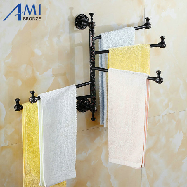 twin flowers series carving black brass foldable movable towel bar wall mounted bathroom accessories towel rack - Bathroom Accessories Towel Bars