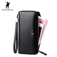 WilliamPOLO 2018 Luxury Brand Men Wallet Genuine Leather Women Purse Clutch Phone Pocket Cowskin Coin Zipper Wine Red Black New