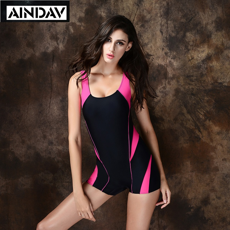 Patchwork Women Boyleg One Piece Swimsuit Professional Sports Swimwear Racing Competition Female Bodysuit Quick Dry Bathing Suit