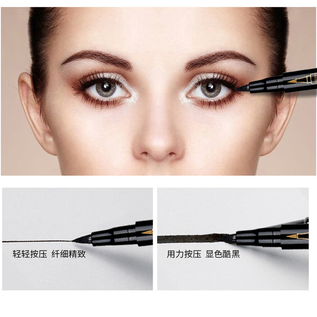 Eyebrow Liquid Pencil Microblading Double Head 4 Tips Eyes Make Up Tint Henna Easy to Wear Brow Enhancer 2 in 1 Eye Liner Pen 4