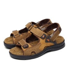 American Made High Quality Men Sandals Genuine Leather England Style Male Sandals Cow Leather Sandals X1376 35
