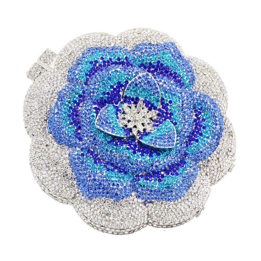 Desainer Bunga Biru Kristal Tas Wanita Pesta Dompet Disesuaikan Clutch Rantai Mini Wanita Tas Kopling Hari SC603
