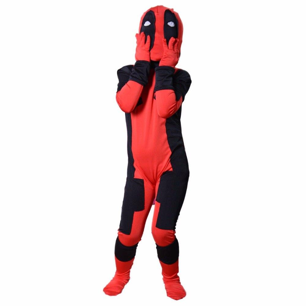 Marvel Kids Deadpool Costume With Mask Hooded Dead Pool Halloween Cosplay Unisex Jumpsuits Superhero Deadpool Death Costume