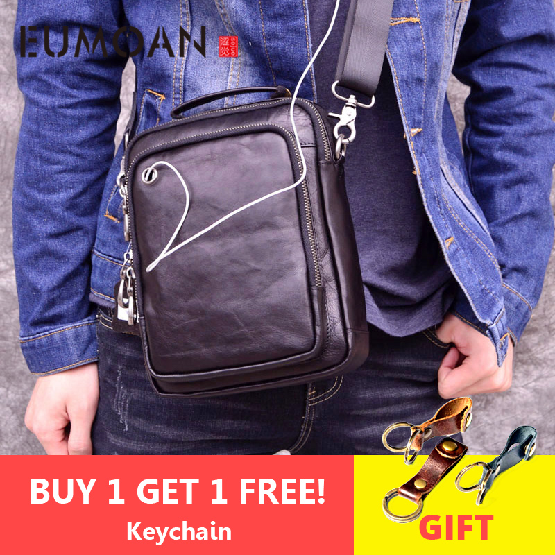 EUMOAN 100% genuine leather men shoulder bag crossbody bags for men high quality bolsas fashion messenger bag for headset