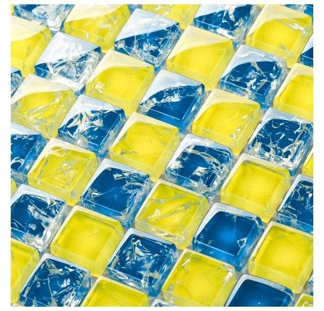 Gelb Blau Kunst Mosaik Quadratische Eiskristall Glas Mosaik