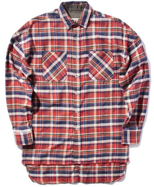 US $29.69 10% OFF|NEW justin bieber FOG flannel Red yellow Scotland grid Men shirts Hiphop extended curved hem oversized Casual Cotton shirt S XL|men