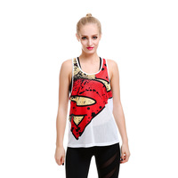 Women Fishnet Racerback Mesh Tank Top Super Hero Print Vest Long Summer Tops T8806