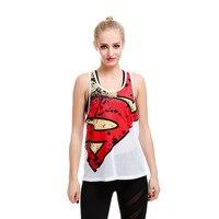 Women Fishnet Racerback Mesh Tank Top Super Hero Print Vest Long Summer Tops T8806