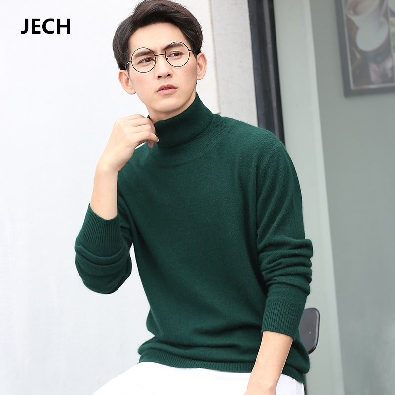Man's Cashmere Wool Turtleneck Sweaters JECH 2018 Spring Winter Men Long Sleeve Solid Slim Pullovers Knitwear Plus Size S-XXXL