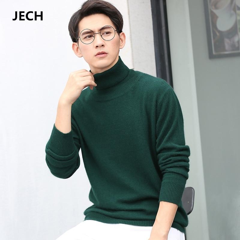 Man's Cashmere Wool Turtleneck Sweaters JECH 2018 Spring Winter Men Long Sleeve Solid Slim Pullovers Knitwear Plus Size S-XXXL