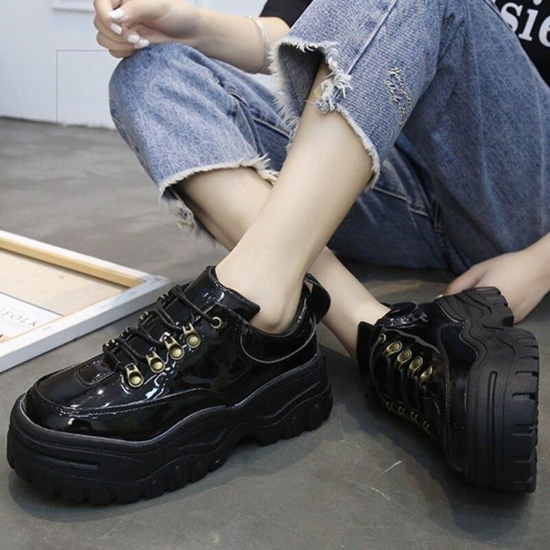 super pas cher se compare à frais frais chaussures de course Femmes chaussures décontractées 2018 nouveau fond épais baskets mode  vulcaniser chaussures Femme en cuir plate-forme chaussures femmes Chaussure  Femme