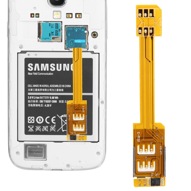 Dual SIM Card Adapter for Samsung Galaxy S5/i9600/S4 /i9500/ S3/i9300/ Note3/ N9000/ Note2/N7100/ Mega 6.3/ i9200 ...