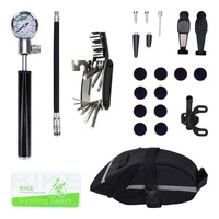Bicycle Repair Tools Mountain Bike Bicycles Repair Tool Kit Portable With 16 In 1 Screwdriver Hex Wrench Cylinder Pressure Gauge
