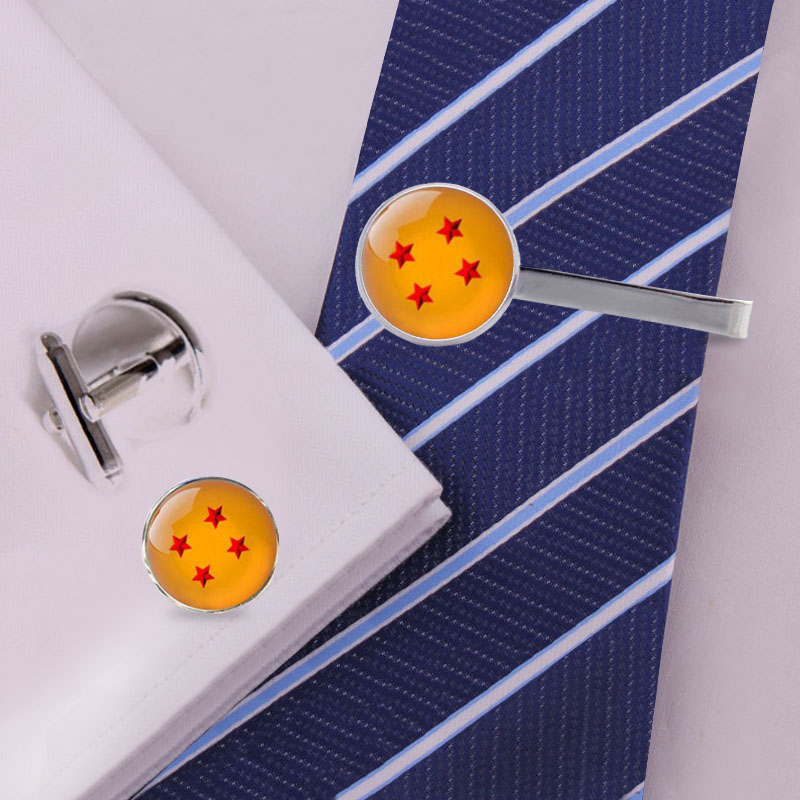 Clip Cufflinks Glass-Tie Dragon-Ball-Z-Clips Silver for Friends CT-0026 Gifts Handmade