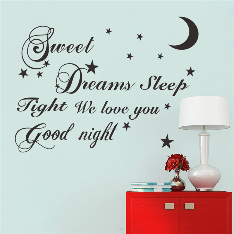sweet dreams sleep tight we love you good night letters wall stickers home decor for bedroom