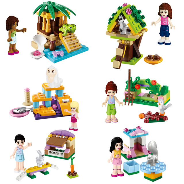 6 Sets Girl Series Original Assemblage Building Blocks Emma Pets Cats  Figures Bricks Gift Compatible With