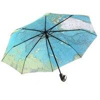 Moda Grande Tamanho Mulheres Homens Mapa Guarda-chuva Automático Guarda-chuva Dobrável Compacto Forte Anti Sol UV Guarda-chuva À Prova de Vento 105 CM