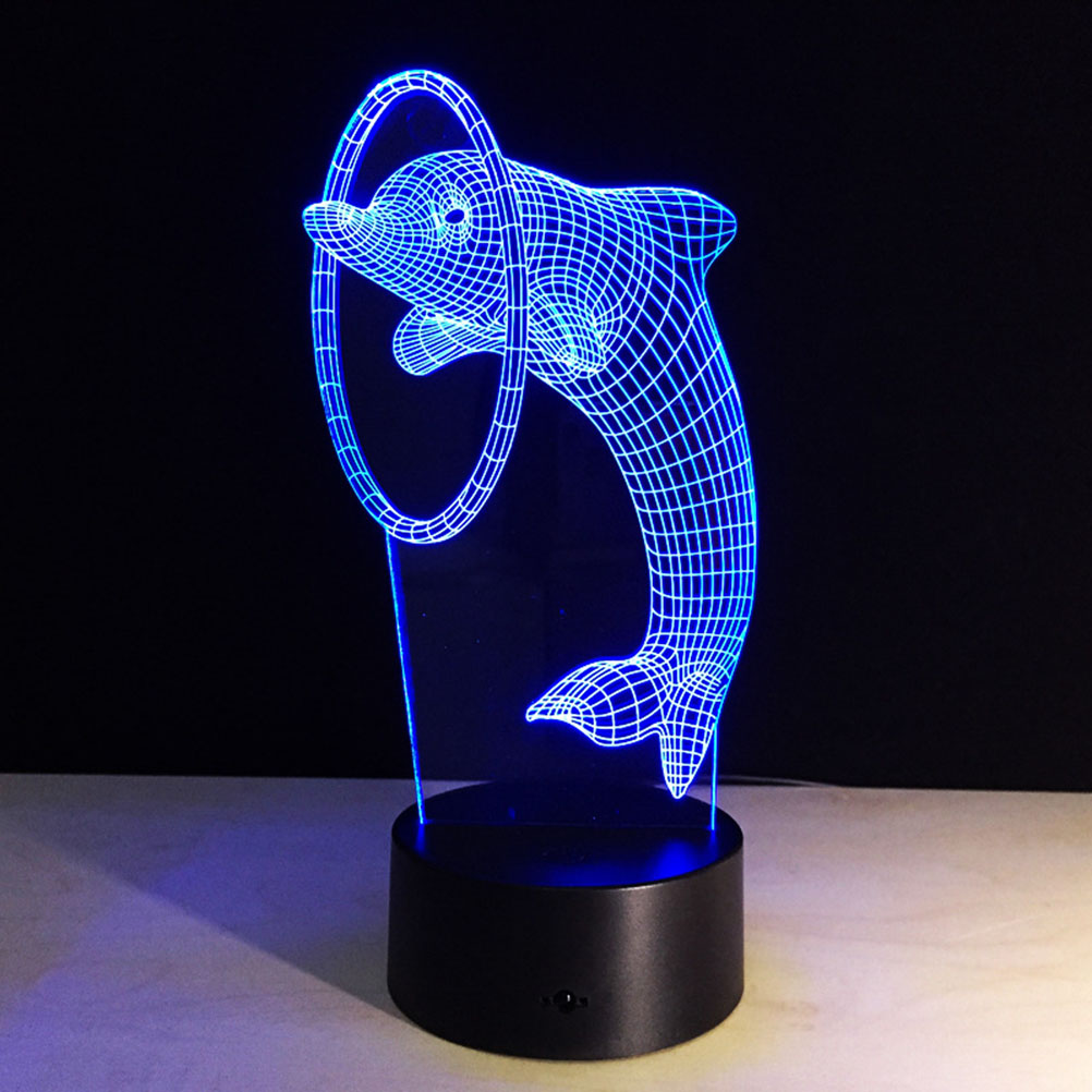 3d Lamp Visual Light Effect Touch Switch & Remote Control Colors Changes  Night Light (dolphin