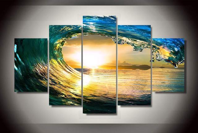 Холст Картина Современная Модульная картина холст настенная живопись Книги по искусству принт синий океан украшения дома нет Рамка Рим Декор 5 шт.
