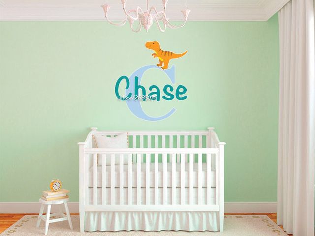 Small Dinosaurs Customized Name Wall Stickers Monogram Wall Decal - Monogram wall decals for nursery
