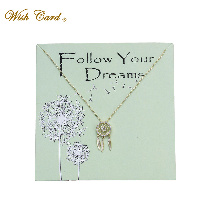 Wish Card Follow Your Dream Gold Chian Necklace Dreamcatcher Copper Pendant Jewelry Mother Day Present Friend Necklace EY6011 image