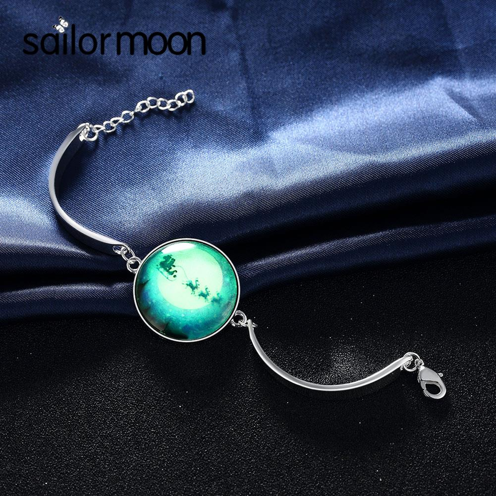 Newest Fashion Glow In The Dark Bracelet For Women Bijouterie Stars Moon Charm Female Bangle Bracelets From Jewelry Accessories