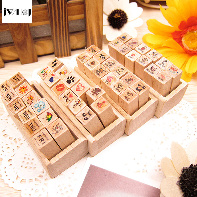 цена на JWHCJ (12 PCS/set)Cute diary Mini wooden box diary rubber stamps gift box set Crafts diy Handmade decal scrapbooking Photo Album