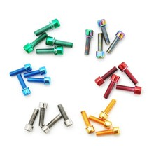 Bicycle Stem Screws M5*18mm  Steel Ti Titanium Printed Tapered Screws Bolts With Washer Bike Stem Screws Bolts Taper Head 8pcs steel bicycle stem screws water bottle holder bolts socket screws m5 m7