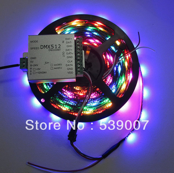ФОТО 1set 5M Black PCB 30 Pixels/m WS2812B LED Pixel Strip IP67 DC5V WP 30leds/m led strip & DMX 512 Controller