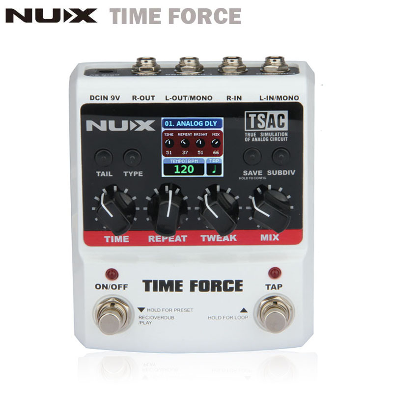 NUX TIME FORCE Guitar effect Pedal delay Multi Digital 11 Delay Effects pedal de guitarra Capo Electric Guitar Accessories nux 1 8 lcd time force delay guitar effect pedal white black