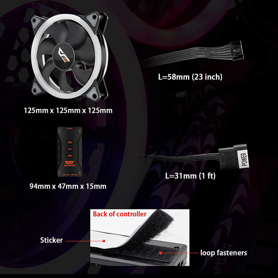 DarkFlash DR12-Pro funda de ordenador ventilador 3 p-5 V Aura Sync enfriador ventilador RGB ajuste LED aigo120mm silencioso remoto enfriador de ordenador