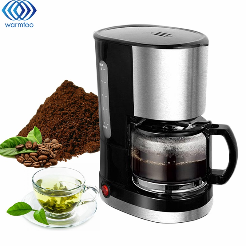 6 Cups Household Automatic Drip Coffee Machine Coffee Make 220V 600W Stainless Steel Black Simple Operation black coffee leeds