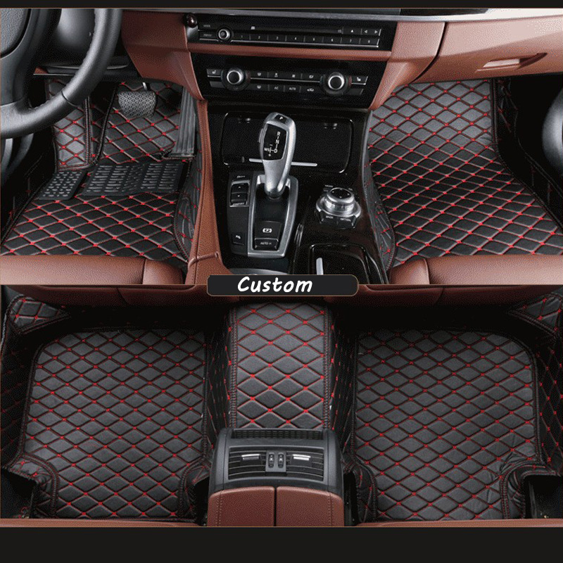 Car floor mats for Highlander 7 seats, pu leather car mat for toyota black beige  gray brown