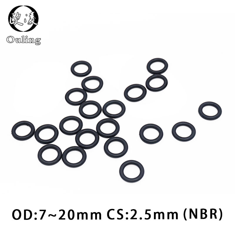 50PC/lot Rubber Ring NBR Sealing O Ring 2.5mm Thickness OD7/8/9/10/11/12/13/14/15/16/17/18/19/20*2.5mm O-Ring Seal Gasket Washer