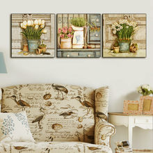 New American Country Oil Painting Flowers Tulips Frameless Decorative Painting Living Room Dining Room Bedroom Canvas Painting(China)