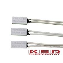 цены 100PCS KSD9700 250V 5A 40-150 Celsius 15*7*3.5mm Bimetal Disc Temperature Switch Thermostat Thermal Protector degree