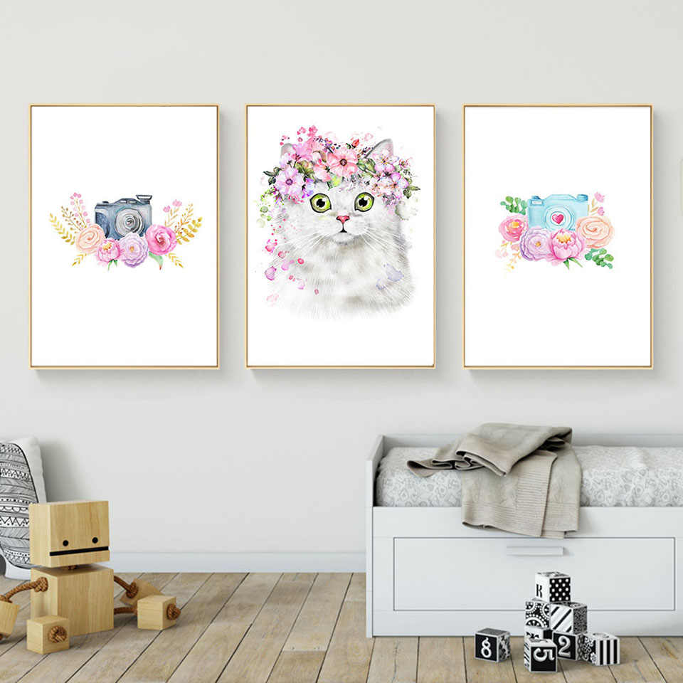 Prints Pictures Home Wall Art Nordic Painting Modular Kawaii Animal Rabbit Cat Poster On Canvas Children Living Room Decor