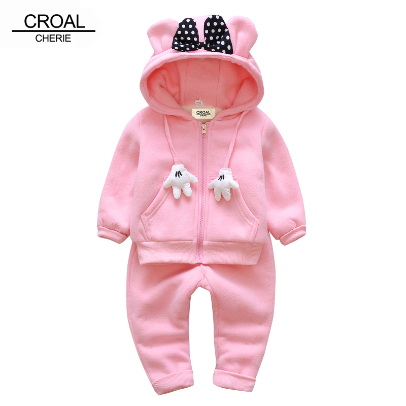CROAL CHERIE 70-120cm Christmas Hoodies Winter Children Clothing Sets Velvet Baby Girl Clothes Thicken Warm Sweatshirt  + Pants cherie cherie lip balm mint