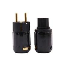 Ein Paar Hifi Power Stecker P029E + C029 Hohe Qualität EU Power Stecker Gold überzogene Schuko Power Stecker + IEC stecker