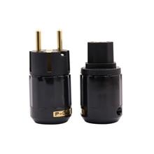 One Pair Hifi Power Plug P029E+C029 High Quality EU Power Connector Gold plated Schuko Power Plug+ IEC plug