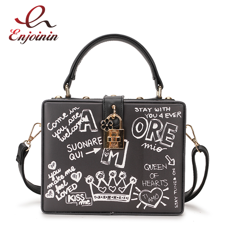 Fashion Black & White Graffiti Cartoon Pattern Box Style Pu Leather Ladies Party Handbag Shoulder Bag Crossbody Messenger Bag