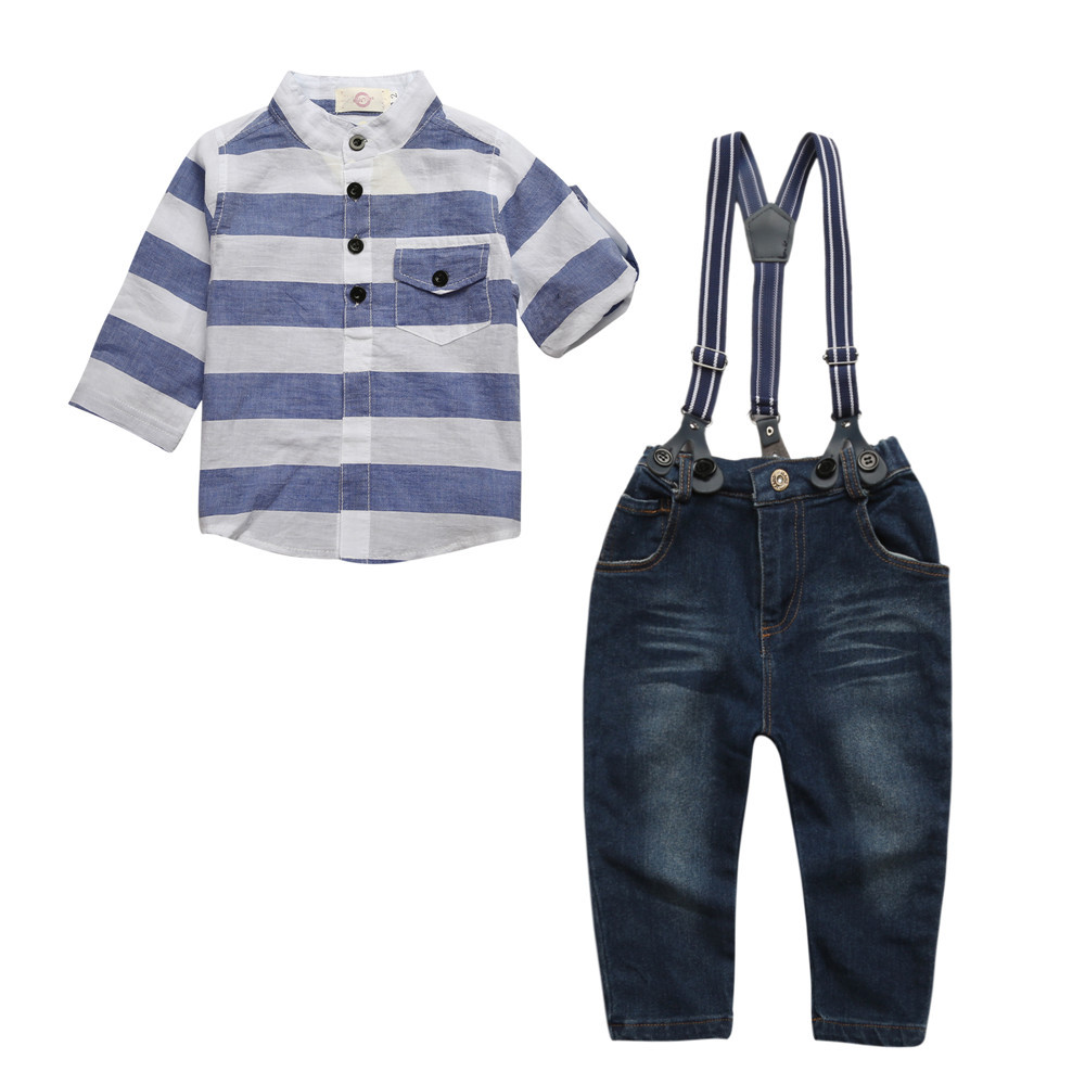 Autumn boys gentleman Clothing Sets Baby Boy clothes Suit Shirts + overalls jeans kids Jumpsuit 2pcs set For 2 3 4 5 6 7 Years fashion boy s clothing set baby suit nice kids cotton long sleeve red shirt spaghetti strap jeans age for 2 3 4 5 6 years