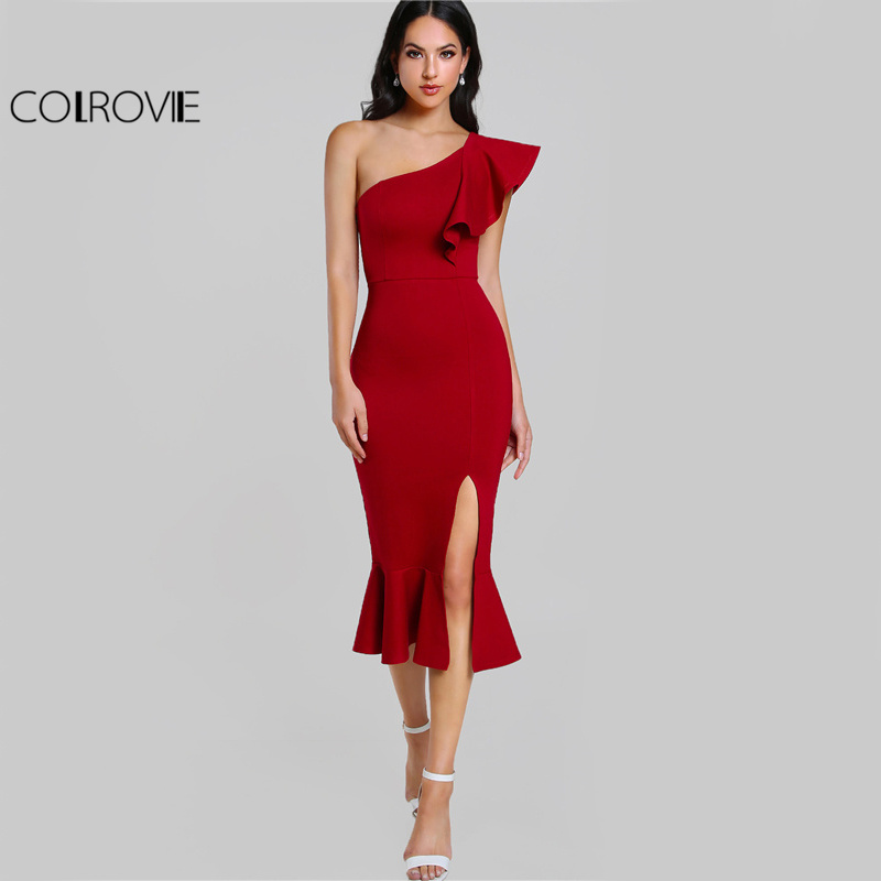 COLROVIE Slit Fishtail verano partido Borgoña un hombro 2017 mujeres Sexy Flounce Midi vestidos elegante Empire Club vestido