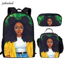 Jackherelook Africa Beauty Princess Girls School Bags Casual 3PCS/Set Children Afro Lady Girl Backpack for Kids Bookbag Mochilas