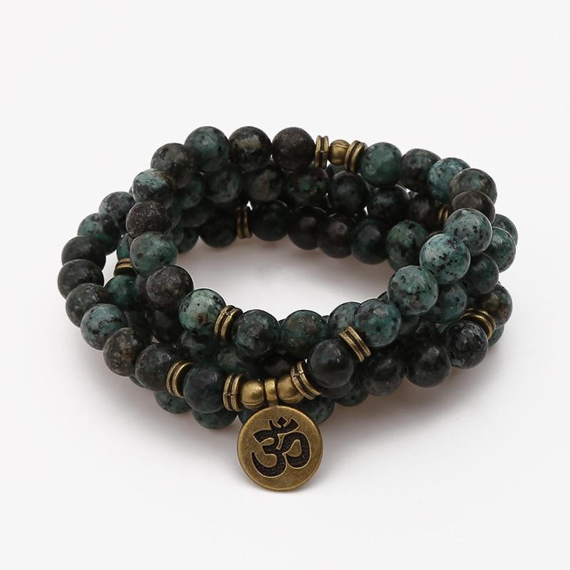 Hand Made 8mm Natural 108 African Pine Stone Beads Bracelet Lotus Flower Pendant Necklace Chakra Bracelet Yoga Buddhist Bracelet