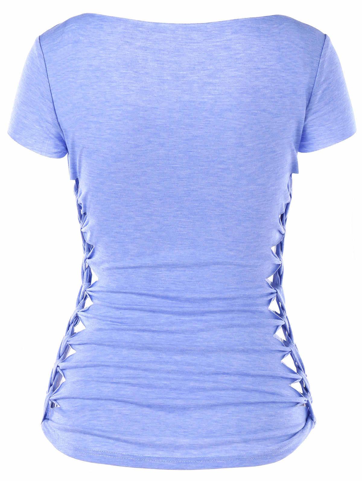 24272e2b6c1c ... Gamiss Skull Print Braided Shredding T-Shirt Women Summer Casual Square  Neck Short Sleeve Graphic ...